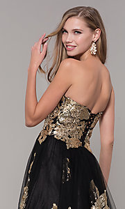 Image of long black and gold strapless prom dress. Style: FB-GL2654 Detail Image 2