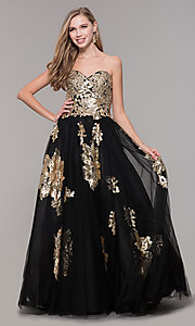 Image of long black and gold strapless prom dress. Style: FB-GL2654 Detail Image 3