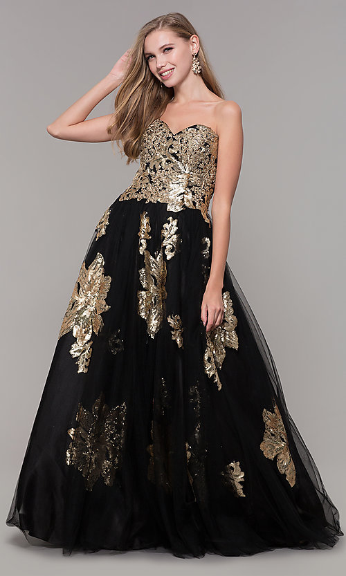 Image of long black and gold strapless prom dress. Style: FB-GL2654 Front Image