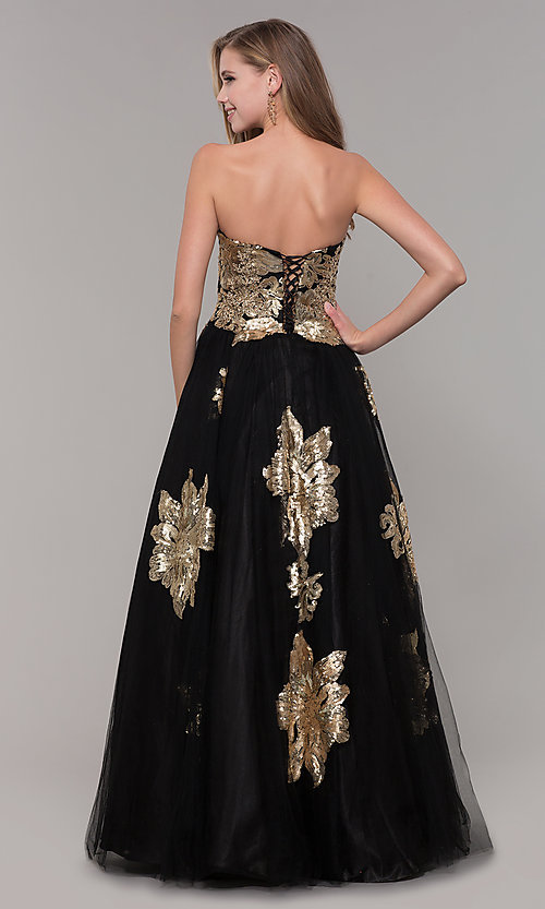 Image of long black and gold strapless prom dress. Style: FB-GL2654 Back Image