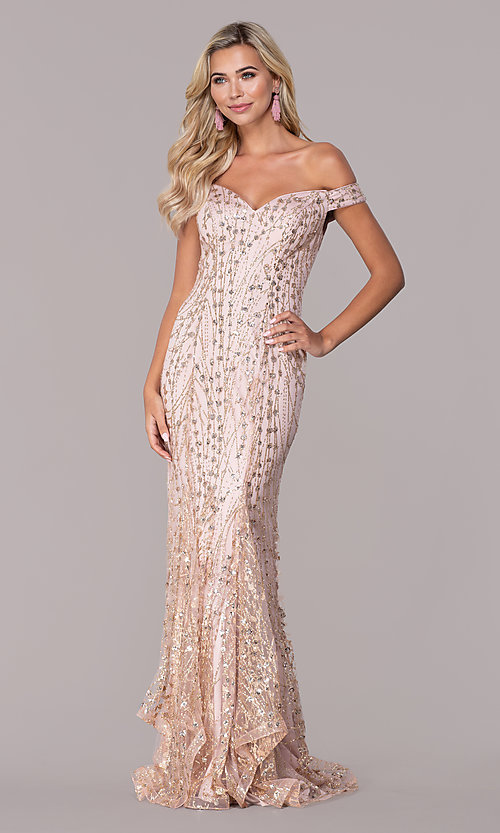 Image of rose gold pink sparkly long formal prom dress. Style: FB-GL2585 Front Image