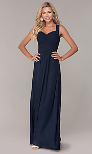 Image of long chiffon ruched-bodice prom dress by Elizabeth K. Style: FB-GL2608 Front Image