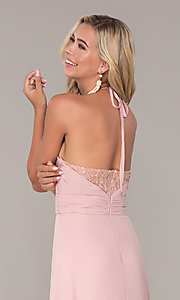 Image of long ruched halter chiffon prom dress by Elizabeth K. Style: FB-GL2606 Detail Image 2