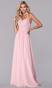 Image of long ruched halter chiffon prom dress by Elizabeth K. Style: FB-GL2606 Front Image
