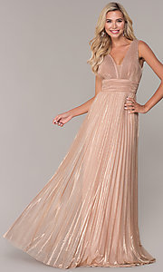 Image of long rose gold empire-waist prom dress. Style: FB-GL2574 Front Image