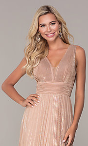 Image of long rose gold empire-waist prom dress. Style: FB-GL2574 Detail Image 1
