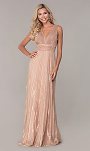 Image of long rose gold empire-waist prom dress. Style: FB-GL2574 Detail Image 3