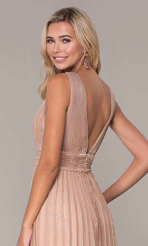 Image of long rose gold empire-waist prom dress. Style: FB-GL2574 Detail Image 2