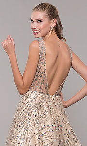 Image of backless long prom dress in champagne gold. Style: MF-E2573 Detail Image 2