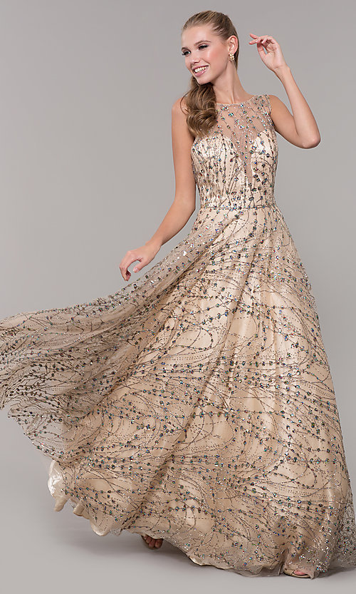 Image of backless long prom dress in champagne gold. Style: MF-E2573 Front Image