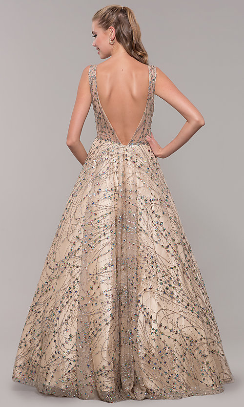 Image of backless long prom dress in champagne gold. Style: MF-E2573 Back Image