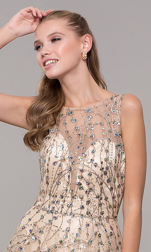 Image of backless long prom dress in champagne gold. Style: MF-E2573 Detail Image 1