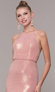 Image of high-neck halter long prom dress in rose gold. Style: MF-E2754 Detail Image 1