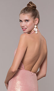 Image of high-neck halter long prom dress in rose gold. Style: MF-E2754 Detail Image 2