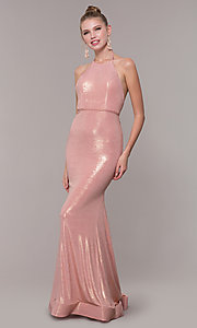 Image of high-neck halter long prom dress in rose gold. Style: MF-E2754 Detail Image 3