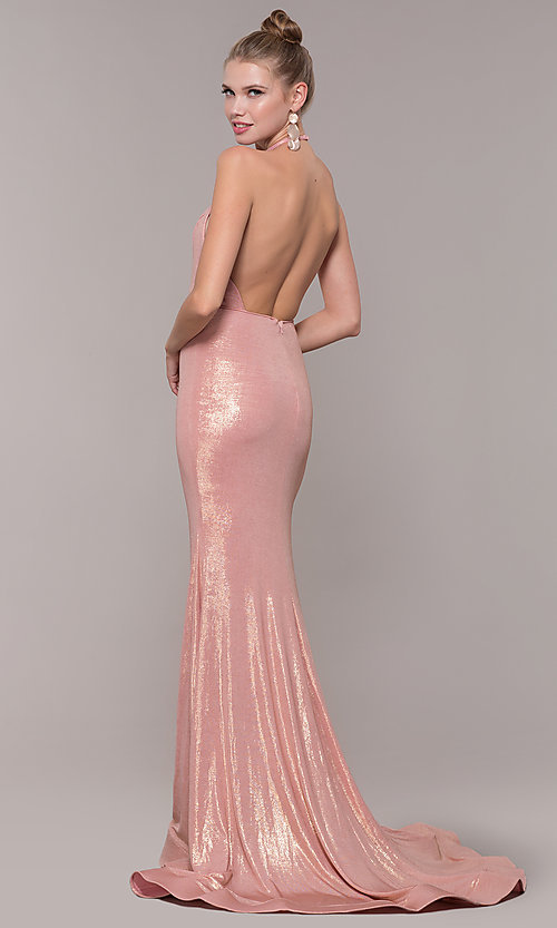 Image of high-neck halter long prom dress in rose gold. Style: MF-E2754 Back Image