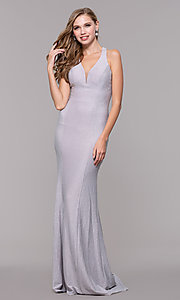 Image of long silver glitter prom dress with strappy back. Style: FB-GL2549 Detail Image 3