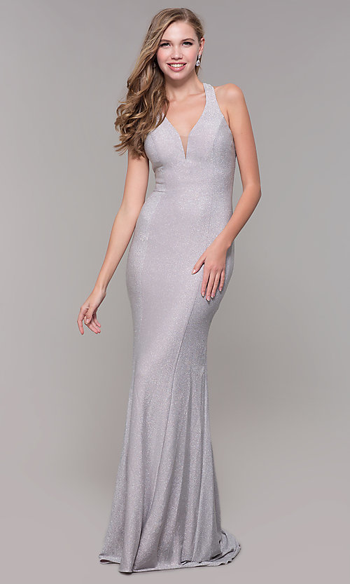 Image of long silver glitter prom dress with strappy back. Style: FB-GL2549 Back Image