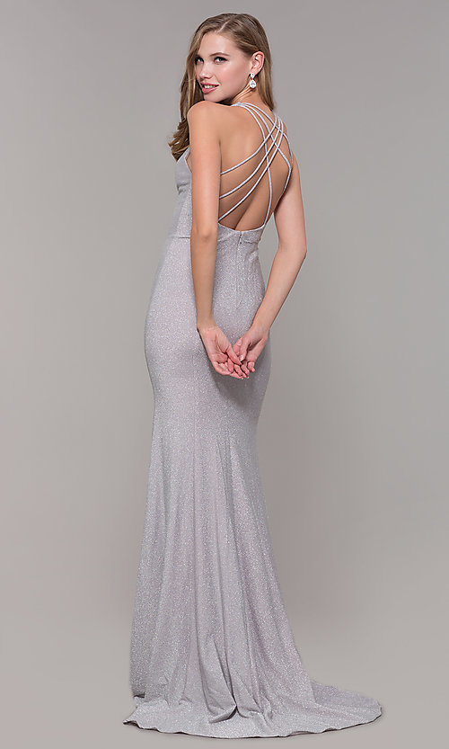 Image of long silver glitter prom dress with strappy back. Style: FB-GL2549 Front Image