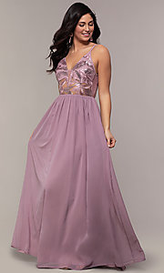 Image of long sequin-illusion-bodice prom dress by PromGirl. Style: LP-PL-27852 Front Image