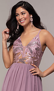 Image of long sequin-illusion-bodice prom dress by PromGirl. Style: LP-PL-27852 Detail Image 1