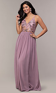 Image of long sequin-illusion-bodice prom dress by PromGirl. Style: LP-PL-27852 Detail Image 3