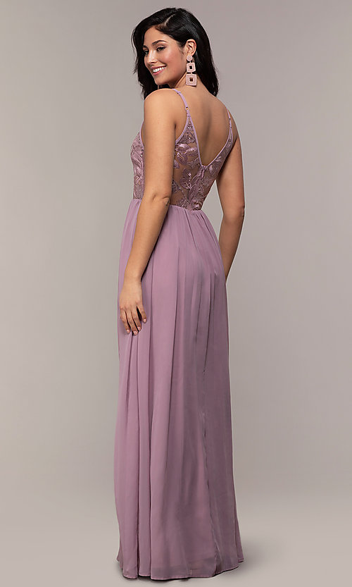 Image of long sequin-illusion-bodice prom dress by PromGirl. Style: LP-PL-27852 Back Image