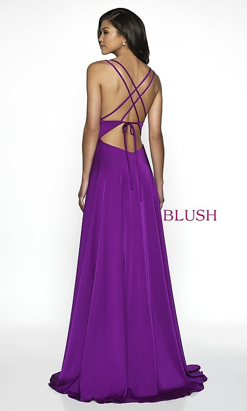 Image of long blush designer prom dress with open back. Style: BL-C2095 Back Image