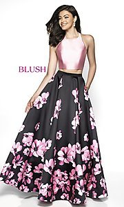 Image of two-piece floral-print formal prom dress by Blush. Style: BL-C2102 Front Image