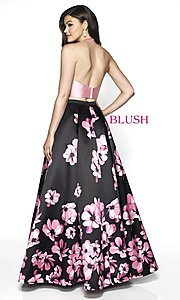 Image of two-piece floral-print formal prom dress by Blush. Style: BL-C2102 Back Image