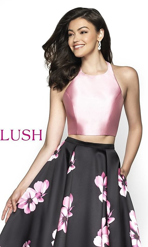Image of two-piece floral-print formal prom dress by Blush. Style: BL-C2102 Detail Image 1