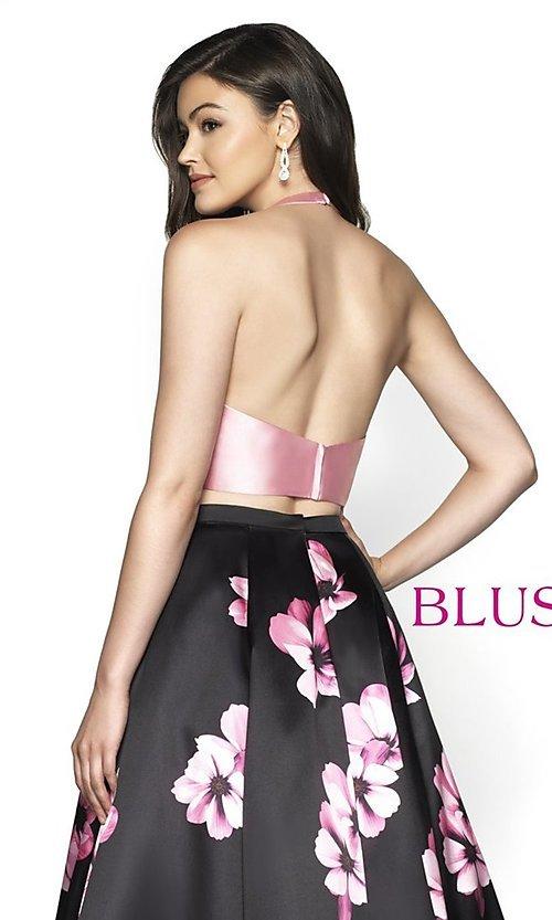 Image of two-piece floral-print formal prom dress by Blush. Style: BL-C2102 Detail Image 2
