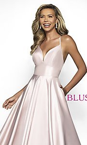 Image of pocketed long shimmer prom dress by Blush. Style: BL-C2009 Detail Image 1
