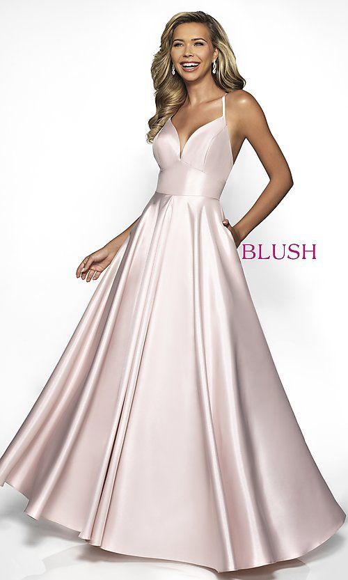 Image of pocketed long shimmer prom dress by Blush. Style: BL-C2009 Front Image