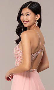 Image of long open-back beaded designer prom dress by Blush. Style: BL-11720 Detail Image 2