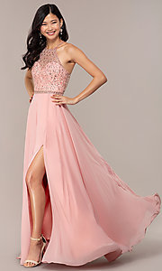 Image of long open-back beaded designer prom dress by Blush. Style: BL-11720 Detail Image 3