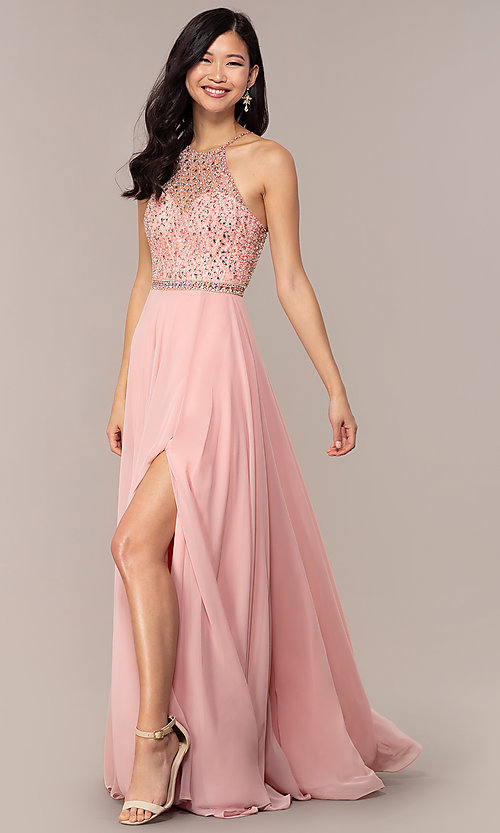 Image of long open-back beaded designer prom dress by Blush. Style: BL-11720 Front Image