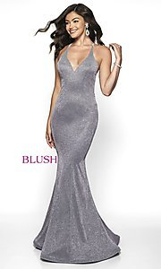 Image of long shimmer open-back prom dress by Blush. Style: BL-11726 Detail Image 3