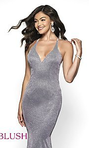 Image of long shimmer open-back prom dress by Blush. Style: BL-11726 Detail Image 4
