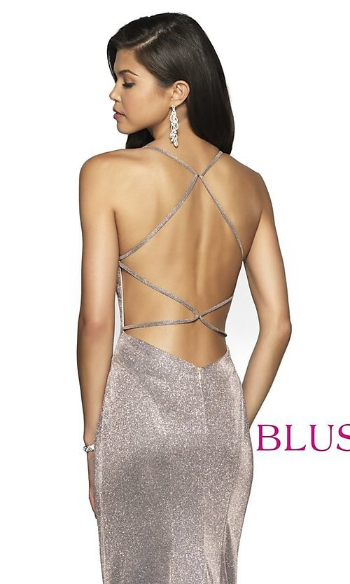Image of long shimmer open-back prom dress by Blush. Style: BL-11726 Detail Image 2