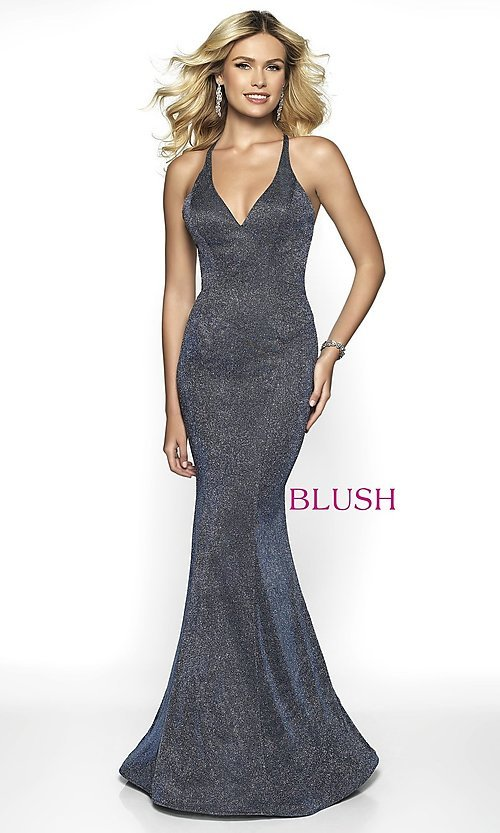 Image of long shimmer open-back prom dress by Blush. Style: BL-11726 Detail Image 5