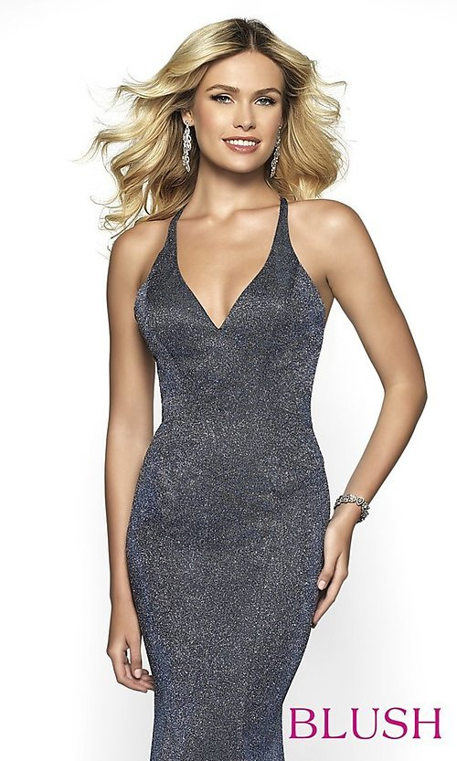Image of long shimmer open-back prom dress by Blush. Style: BL-11726 Detail Image 6