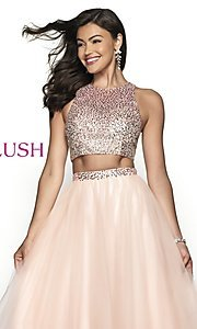 Image of two-piece designer prom ball gown by Blush. Style: BL-11746 Detail Image 1