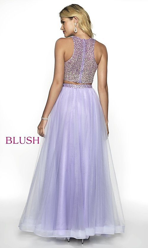 Image of two-piece designer prom ball gown by Blush. Style: BL-11746 Back Image