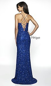 Image of royal blue iNtrigue by Blush long sequin prom dress. Style: BL-IN-507 Back Image