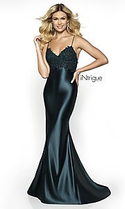 Image of long embroidered-bodice prom dress with train. Style: BL-IN-529 Detail Image 3