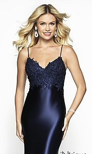 Image of long embroidered-bodice prom dress with train. Style: BL-IN-529 Detail Image 1