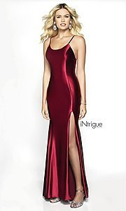Image of berry red iNtrigue by Blush long formal prom dress. Style: BL-IN-537 Front Image