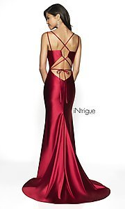 Image of long v-neck satin prom dress with lace-up back. Style: BL-IN-540 Back Image