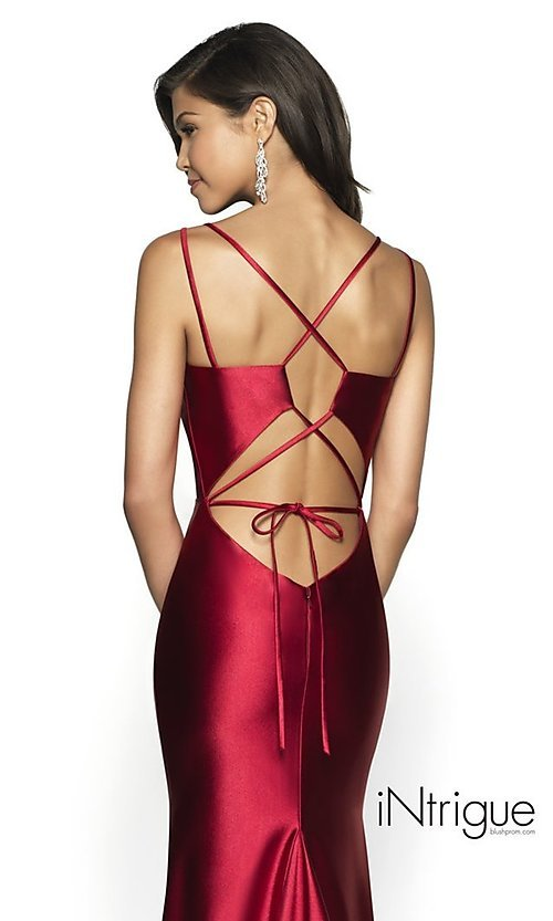 Image of long v-neck satin prom dress with lace-up back. Style: BL-IN-540 Detail Image 2